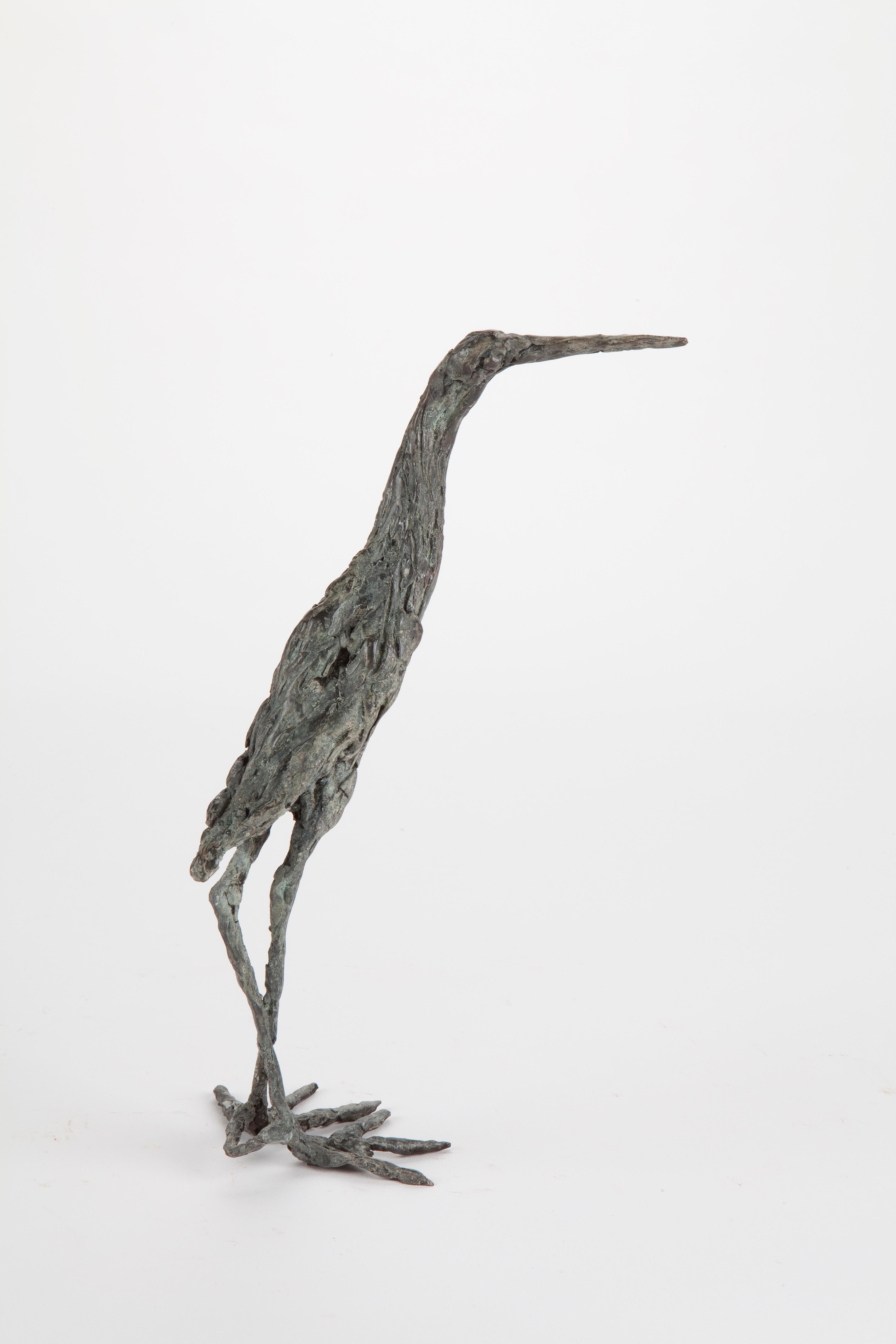 ''Grey Heron'', Contemporary Bronze Sculpture Portrait of a Bird
