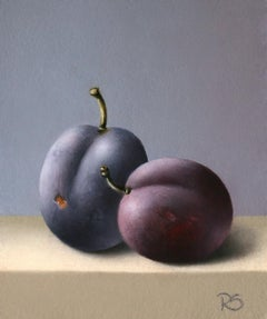 """Two Plums"" Contemporary Dutch Fine Realist Painting of Still-Life with Fruit"