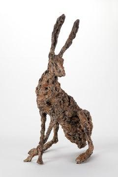 ''Hare Ecoutez'', Contemporary Bronze Sculpture Portrait of a Hare