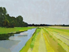 ''The land after the first cut'', Contemporary Dutch Oil Painting of a Landscape