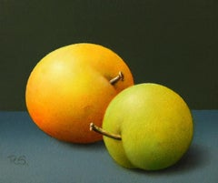 """Two Yellow Plums"" Contemporary Fine Realist Painting of Still-Life with Fruit"