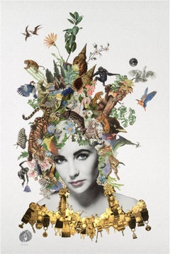 ''Violet'' Limited edition print of surrealistic collage with portrait of woman