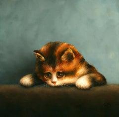 """Lying Kitten"" Contemporary Fine Realist Still-Life Painting of Kitten, Cat"