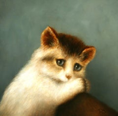 """""""Kitten, paws together"""" Contemporary Fine Realist Still-Life Painting of Kitten"""