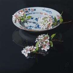 ''Last Hydrangea'', Contemporary Still Life with Porcelain and Flowers