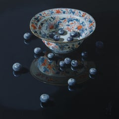 ''Imari with Blueberries'', Contemporary Still Life with Porcelain and Fruit