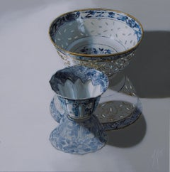 ''Two reflected in the Light'', Contemporary Still Life with Chinese Porcelain