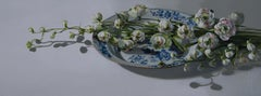''Delphinium in the Light'', Contemporary Still Life with Porcelain and Flowers