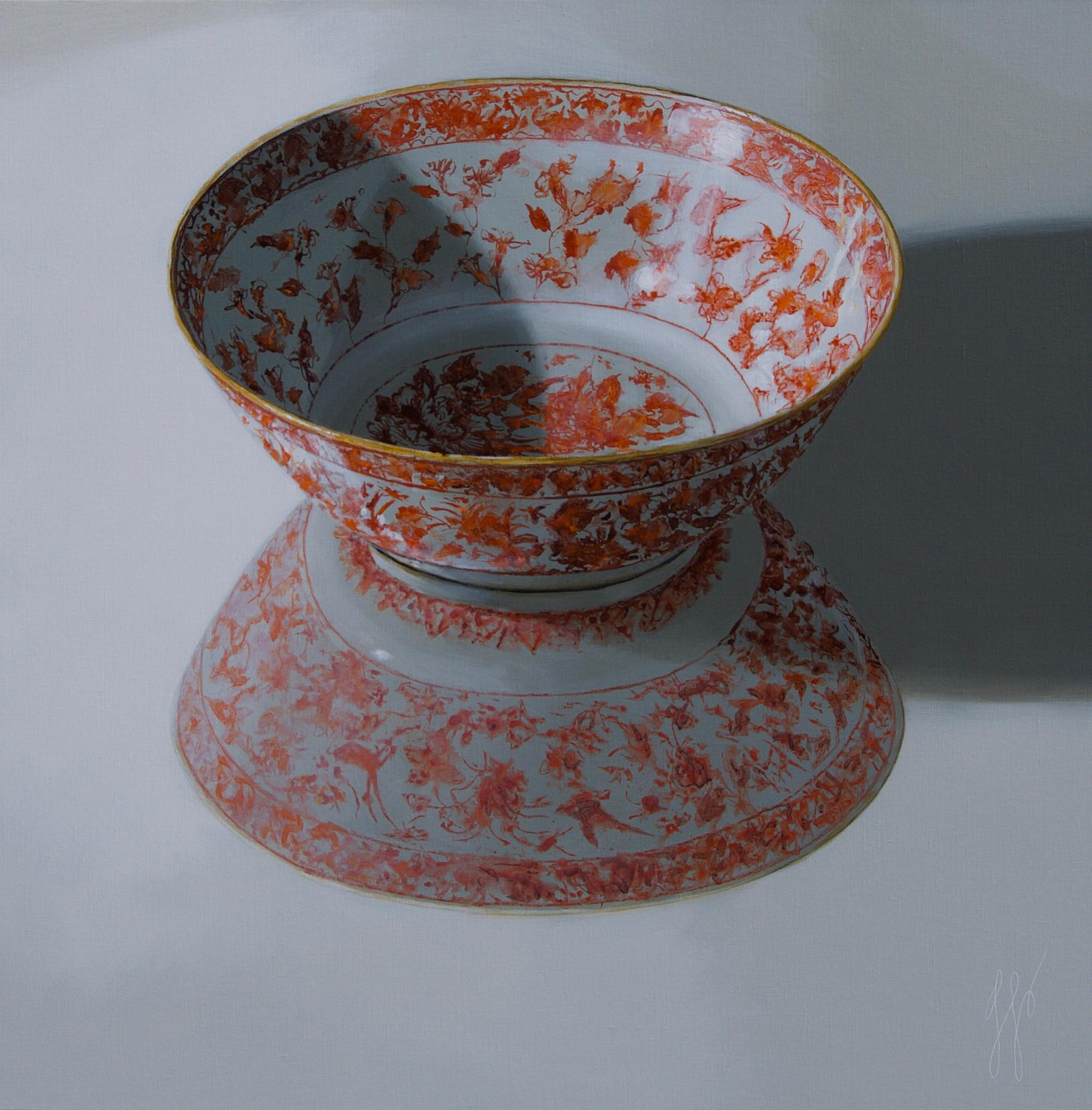 ''Orange bowl reflected in the Light'', Contemporary Still Life with Porcelain
