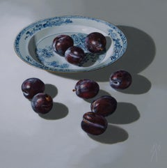 ''Plums on light'', Contemporary Still Life with Porcelain and Fruit