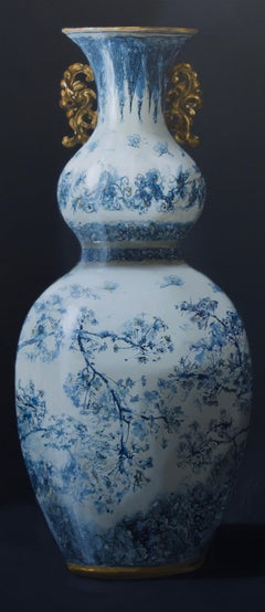 ''Vase with Blossom and Gold'', Contemporary Still Life with Porcelain