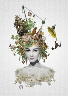 ''Miss Baker'' Limited edition print of surrealistic collage, Audrey Hepburn