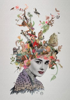 ''Edie'' Limited edition giclee print of surrealistic collage, Audrey Hepburn