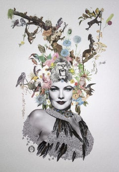 ''Eliza'' Limited edition print of surrealistic collage with french glass