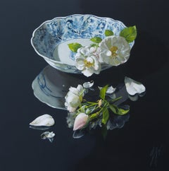 ''Snow whites'', Contemporary Still Life with Porcelain and Flowers