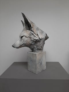''Fox Head Study'', Contemporary Bronze Sculpture Portrait of a Fox