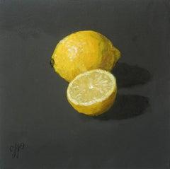 ''Lemons'' Dutch Contemporary Still Life with Lemons on Black, Fruit