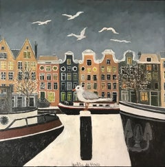 ''Dutch Canal in Winter'' Cosy Dutch Painting of a Dutch Canal with Birds