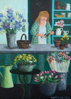 ''Flowers'' Cosy Dutch Painting of a Flower Shop