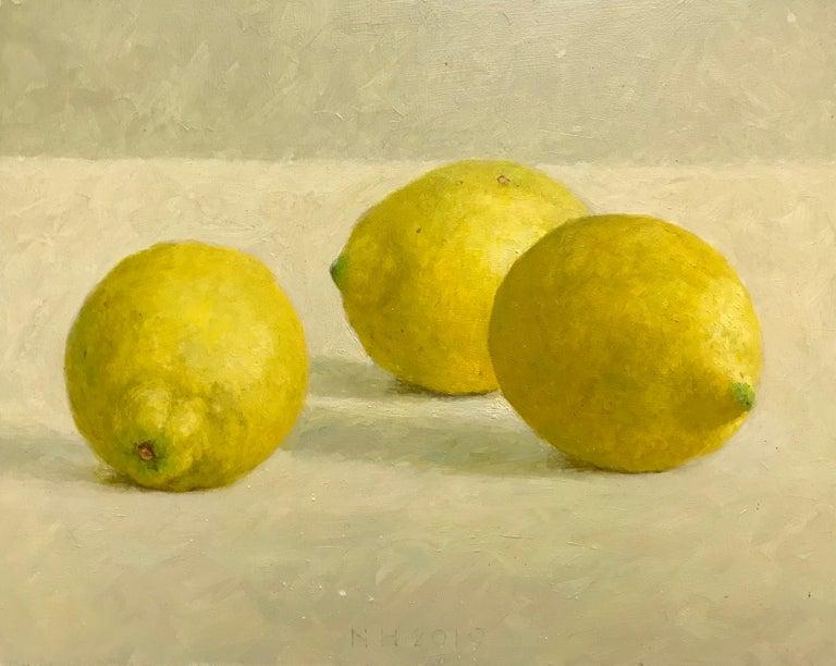Nico Heilijgers Figurative Painting - ''Lemons'' Contemporary Dutch Still Life Painting of Fruit, Lemons