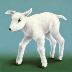 """Happy Lamb"" Contemporary Fine Realist Still-Life Painting of a Lamb"
