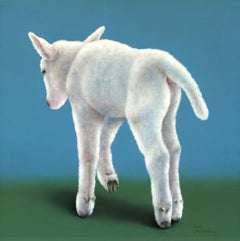 """""""Lamb on blue"""" Contemporary Fine Realist Still-Life Painting of a Lamb"""