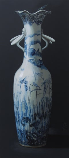 ''Vase with Dragonflies'', Contemporary Still Life with Porcelain Vase