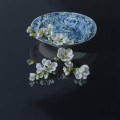 ''Quince on a Porcelain Bowl'', Contemporary Still Life Porcelain and Quince