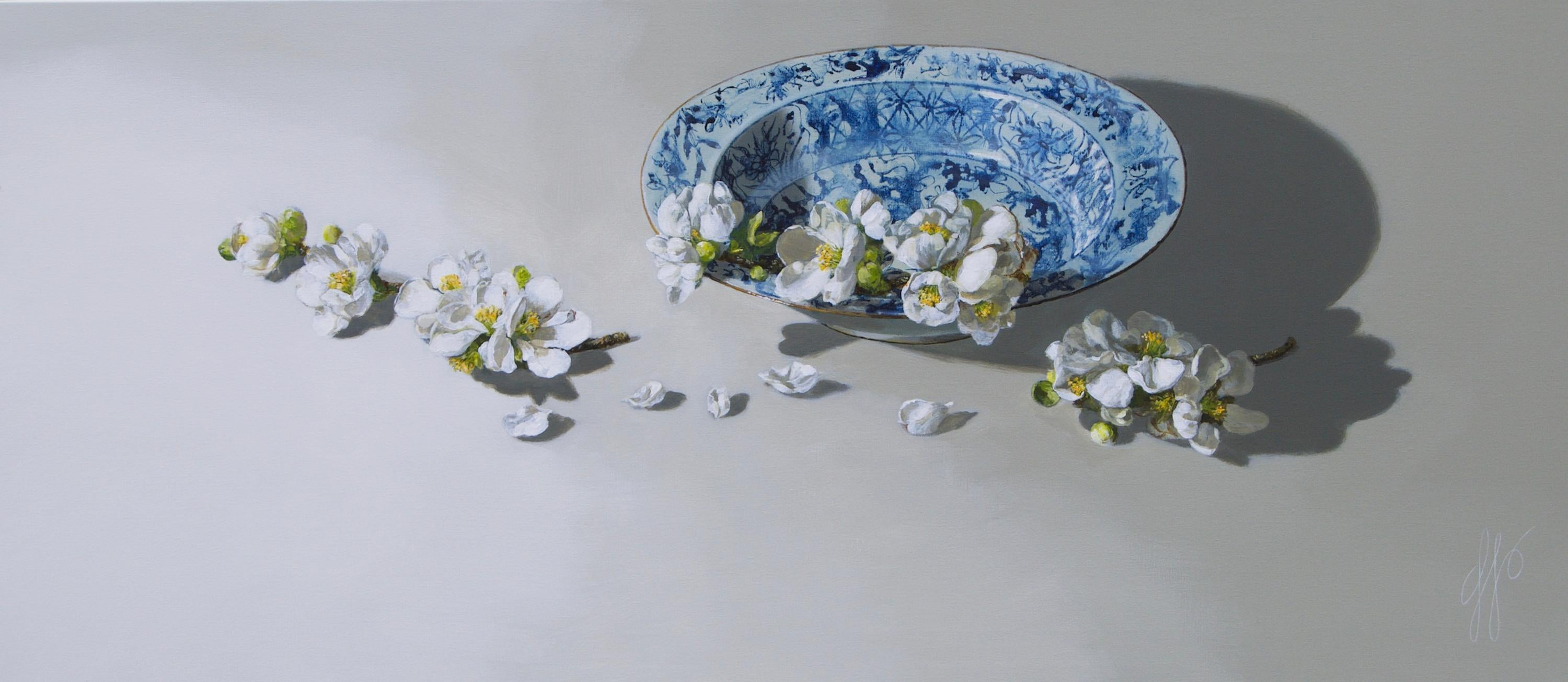 ''Quince on Porcelain Light'', Contemporary Still Life Porcelain and Quince