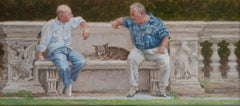 ''Park Bench'' Contemporary Dutch Painting of Two Men on a Park Bench