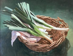 ''Basket with Leeks'' Contemporary Dutch Still Life Painting with Leeks
