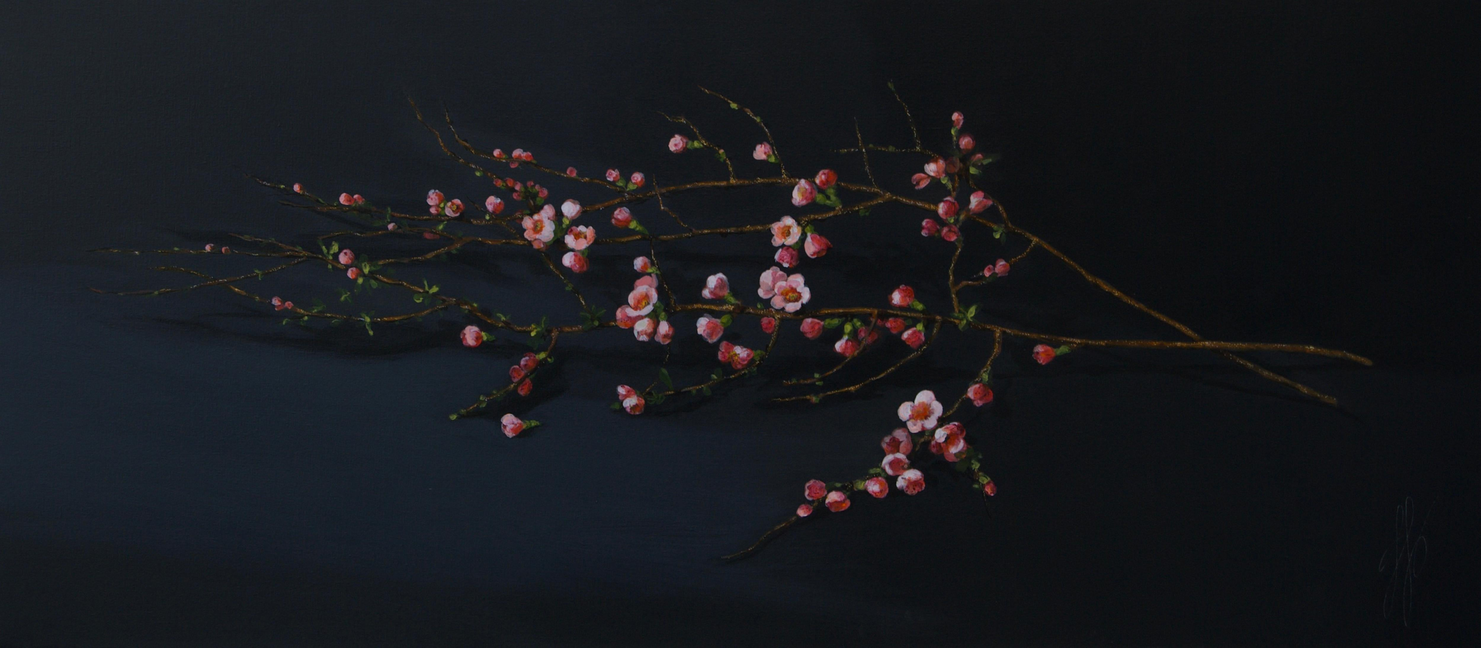 ''Blossom Branch'', Contemporary Still Life with Pink and Orange Blossom Branch