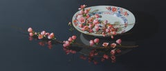 ''Pink Blossom on Porcelain'', Contemporary Still Life with Porcelain & Blossom