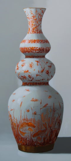 ''Orange Vase with Fish'', Contemporary Still Life with Porcelain Vase