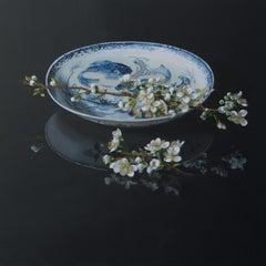 ''Pear Blossom'', Dutch Contemporary Still Life with Porcelain and Blossom