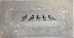 ''Five Sparrows'' Dutch Contemporary Fresco Painting with Sparrows, Birds