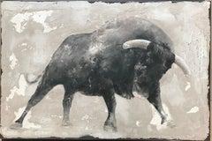 ''Bull'' Dutch Contemporary Fresco Painting with Bull, Animal Portrait