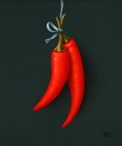 """""""Red Chillies"""" Contemporary Fine Realist Still-Life Painting of Red Chillies"""
