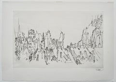 """City Roofs"" drypoint engraving by Peter Takal"