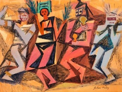 Colorful Southwest Modern Pueblo Dancers painting by John Charles Haley 1949