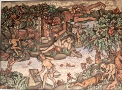 Balinese gouache on paper painting circa 1930-1940 Bali Indonesian art