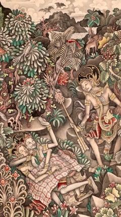 Balinese gouache painting forest scene with Rama Sita Lakshmana Bali Indonesia