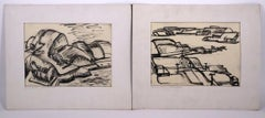 Two India ink landscapes Cameron Booth Minnesota Mid-century Modern artist