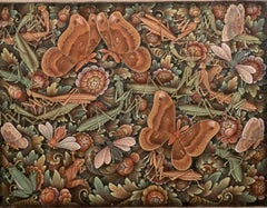 Balinese painting of the insect world Indonesian art from Peliatan Ubud Bali