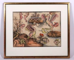 Balinese painting of water birds fish seahorses in a coral reef Indonesian art