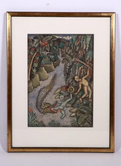 Framed Balinese watercolor painting Krishna escaping Kaliya Bali Indonesian art