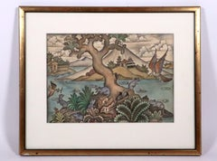 Balinese watercolor painting of legend or myth Mid-20th century Indonesian art