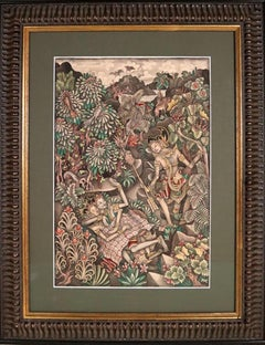 Balinese painting forest with Rama Sita Bali Indonesia INVENTORY CLEARANCE SALE