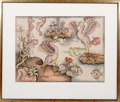 Balinese painting of water birds fish Indonesian art INVENTORY CLEARANCE SALE