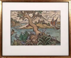 Balinese watercolor Mid-20th century Indonesian art INVENTORY CLEARANCE SALE